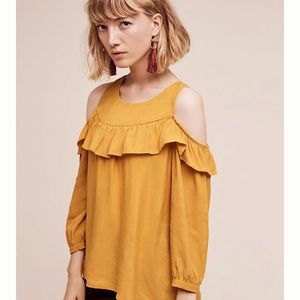 Anthropologie Brearly Cold Shoulder Ruffle Top